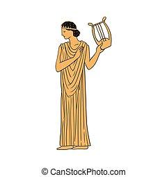 abbildung, vektor, isolated., uralt, frau, zeichen, griechischer , skizze, harfe