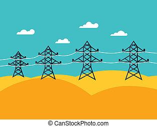 Abbildung von industriellen Stromleitungen im flachen Stil.