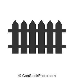 abbildung, zaun, schwarz, vektor, einfache , ikone, ausgewählt, design