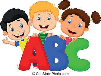 abc, karikatur, kinder, schule