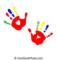Abdrücke von Kinderhand von Farbe