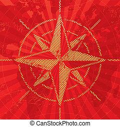 Abenteuer und Reise illustrierte mit Kompass stiegen auf einem Kartenhintergrund auf