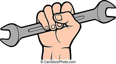 abhalten schraubenschlüssel, werkzeug, vektor, hand, farbe