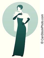 abnützende kleidung, abend, hintergrund., dame, silhouette, langer, freigestellt, elegant, grün, retro, weiße handschuhe, stola, style.