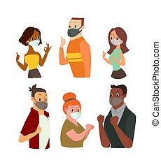 abnützende maske, gesicht, ok, gesturing, frauen, daumen, ausstellung, zeichen, auf., mann