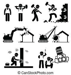 Abriss von Bausymbolen.