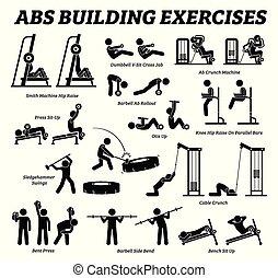 Abs und abdomen Bauübung und Muskelaufbau Figur Piktogramme.