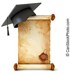 Abschlussball und Diplom. Entwaffnete eine alte Schriftrolle mit Wachssiegel. Konzeptuelle Illustration. Auf weißem Hintergrund. 3D Renderung