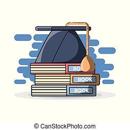 Abschlusskappe auf Stapel von Büchern.