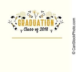 Abschlussklasse von 2018 Grußkarte und Einladung Vorlage. Vector Party Einladung. Grad-Poster.