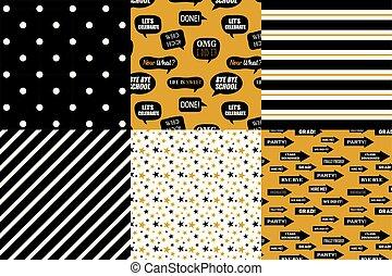 Abschlussmustersammlung. Schwarzer und goldener Vektor Hintergrund für Abschlussfeier oder Zeremonieneinladung, Grußkarte oder Web-Seite und Poster-Design. Vector Wohnung.