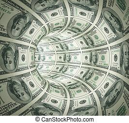 Absperrungstunnel aus Geld.