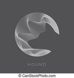 Abstarct Vektor Hund Zeichen, Emblem oder Logo Vorlage. Hound Head Silhouette. Negative Leerzeichen im Linienkreis.