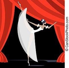 Abstract Balletttänzer in Weiß.