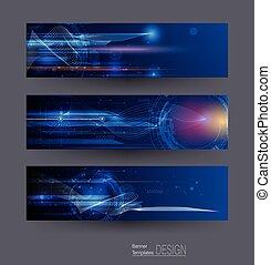 Abstract Banner mit Bild von Geschwindigkeitsbewegungsmuster und Bewegungsunschärfe über dunkelblaue Farbe.