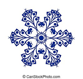 Abstract Blue Snowflake auf weißem Hintergrund.