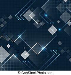 Abstract Dark Blue Vektor Quadrat Technologie futuristischen Hintergrund mit glitter und Gitter.