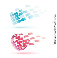 Abstract Globus Icons, Business and Comunication concept.