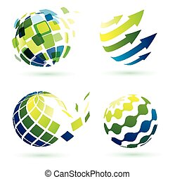 Abstract Globus Icons.