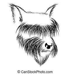Abstract Grafikkopf eines Hundes in Schwarz und Weiß.