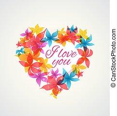 Abstract Herz mit Blumen.