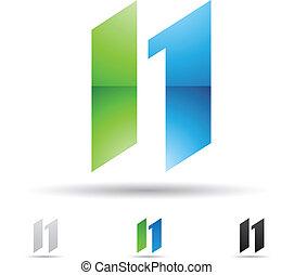 Abstract Icon für Buchstabe N.