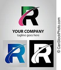 Abstract Icon Logo für Buchstabe R.