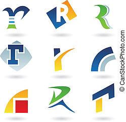 Abstract Icons für Buchstabe R.