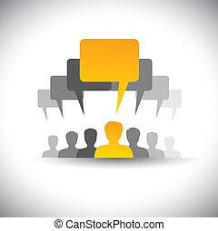 Abstract Icons von Mitarbeitern oder Mitarbeitertreffen - Vektorgrafik. Diese Grafik repräsentiert auch soziale Medienkommunikation, Vorstandssitzungen, Studentenunion, die Stimme der Menschen, Führer und Führung, etc