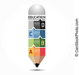 Abstract infographic Design Minimal-Stil Bleistift Vorlage / kann für Infographics / nummerierte Banner / horizontale Ausschnittlinien / Grafik- oder Website-Layout Vektor verwendet werden.