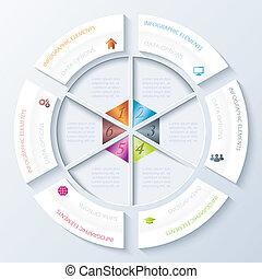 Abstract infographisches Design mit Kreis und sechs Segmenten. Vector Illustration kann für Webdesign, Workflow oder grafische Gestaltung, Diagramm, Zahlenoptionen, Bildung, Präsentation verwendet werden