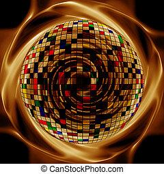 Abstract kreativen Gold Hintergrund im Stil von gemischten Medien.