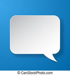 Abstract Papier Rede Blase auf blauem Hintergrund