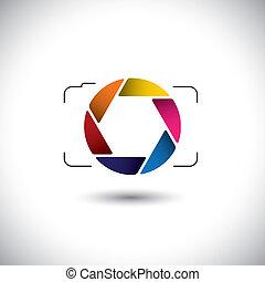 Abstract Point & Shoot Digitalkamera mit bunten Verschluss Icon. Diese Vektorgrafik ist eine einfache Vektordarstellung von stylischen Linsen oder Blenden einer Digitalkamera für die Aufnahme von Fotos und Videos