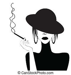 Abstract Portrait einer sexy Frau rauchen.