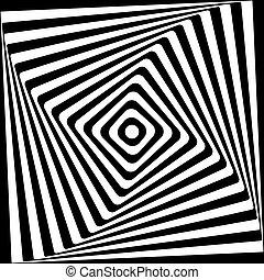 Abstract Quadrat Spirale schwarz und weiß Muster Hintergrund.