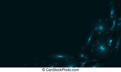 Abstract Raum Hintergrund mit blauen leuchtenden Wavy-Linien, Lichter und Sternchen. Blaue Sterne und Streifen auf einem roten Hintergrund und kopieren Raum