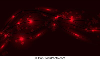 Abstract Raum Hintergrund mit roten Wavy-Linien, Lichter und Sternchen. Rote Sterne und Streifen auf einem roten Hintergrund. Vector Illustration