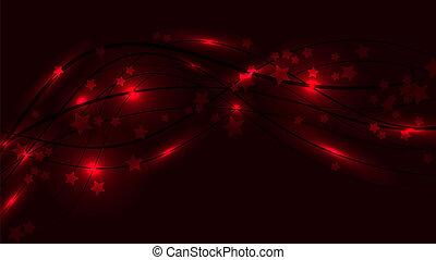 Abstract Raum Hintergrund mit roten Wavy-Linien, Lichter und Sternchen. Rote Sterne und Streifen auf einem roten Hintergrund