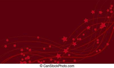 Abstract Raum Hintergrund mit roten Wavy-Linien und roten Sternchen. Rote Sterne auf einem roten, hellen Hintergrund. Vector Illustration