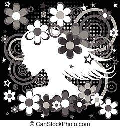 Abstract Schwarz-Weiß Backgrund mit Frauenprofil, Blumen und Kreisen.