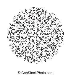 Abstract Schwarzfarben-Logo Design, isolierte Vorlage auf weißem Hintergrund. Der Kreis hat mit Blättern Emblem gemacht. Spa-Konzept Monogramm im linearen Stil. Vector Dekoration für Mode, Kosmetik, Schönheitsindustrie