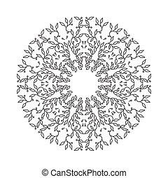 Abstract Schwarzfarbenrahmen Design, isolierte Vorlage auf weißem Hintergrund. Der Kreis hat mit Blättern Emblem gemacht. Spa-Konzept Monogramm, linearer Stil. Vector Dekoration für Mode, Kosmetik, Schönheitsindustrie