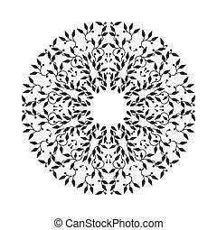Abstract Schwarzfarbenrahmen Design, isolierte Vorlage auf weißem Hintergrund. Der Kreis hat mit Blättern Emblem gemacht. Spa-Konzept Monogramm, natürliche Marke. Vector Dekoration für Mode, Kosmetik, Schönheitsindustrie
