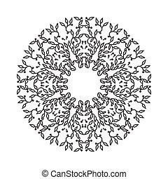 Abstract Schwarzfarbenrahmen Design, isolierte Vorlage, weißer Hintergrund. Der Kreis hat mit Blättern Emblem gemacht. Spa-Konzept Monogramm im linearen Stil. Vector Dekoration für Mode, Kosmetik, Schönheitsindustrie