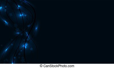 Abstract space blue background with bright wavy lines, light lights and asterisks. Blue stars and stripes on a blue background and copy space. Vector Illustration