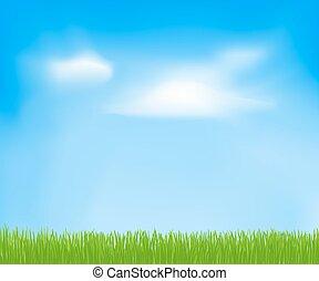 Abstract Spring Hintergrund mit Himmel, Wolken, grünes Gras. Vector Vorlage für Ihr Design