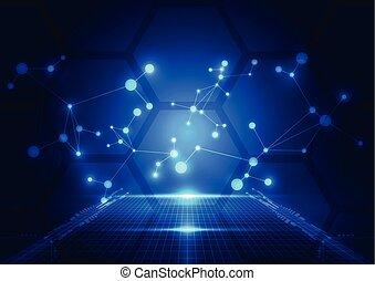 Abstract Technologie blauer Hintergrund. Vector Illustration.