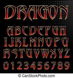 Abstract Vektor Illustration einer Drachen-Stil Schriftart.