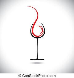 Abstract Vektor Illustration von Wein gießen(splash) in Glas.